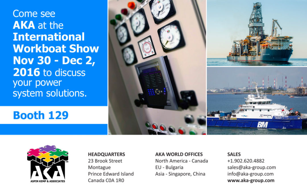 AKA will be at the International WorkBoat Show Nov 30 – Dec 2, 2016